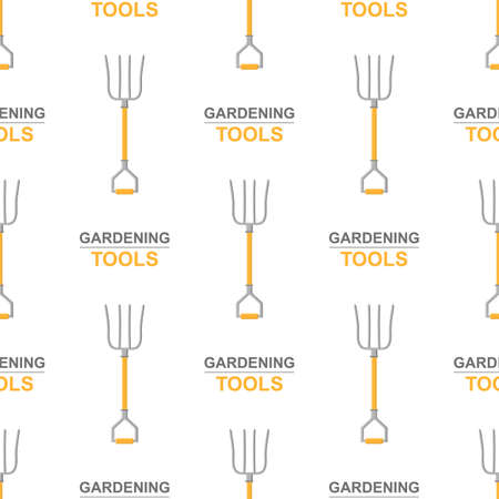 Seamless pattern with cartoon pitchforks on white background. Gardening tool. Vector illustration for any design. Vettoriali