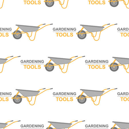 Seamless pattern with cartoon wheelbarrow on white background. Gardening tool. Vector illustration for any design.