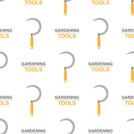 Seamless pattern with cartoon garden hand sickle on white background. Gardening tool. Vector illustration for any design. Vettoriali