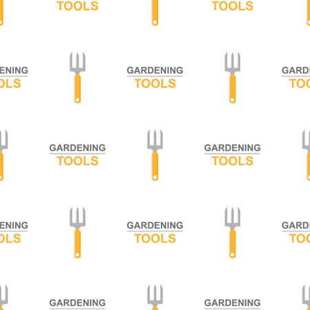 Seamless pattern with cartoon small pitchforks on white background. Gardening tool. Vector illustration for any design. Vettoriali
