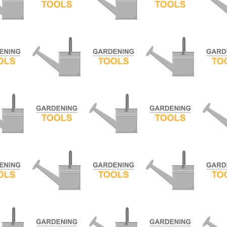 Seamless pattern with cartoon garden watering can on white background. Gardening tool. Vector illustration for any design.
