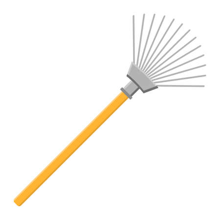 Cartoon rake icon isolated on white background. Gardening tool. Vector illustration in cartoon style for your design.