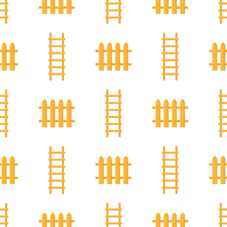 Seamless pattern with cartoon ladder, stairs, fence on white background. Gardening tool. Vector illustration for any design.