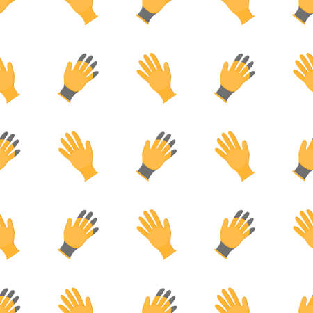 Seamless pattern with cartoon yellow rubber gloves on white background. Gardening tool. Vector illustration for any design. Vettoriali