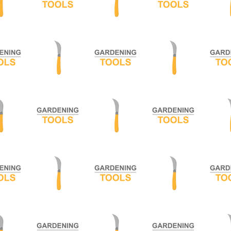 Seamless pattern with cartoon garden knife on white background. Gardening tool. Vector illustration for any design. Vettoriali