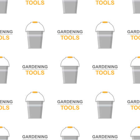 Seamless pattern with cartoon garden metal bucket on white background. Gardening tool. Vector illustration for any design.