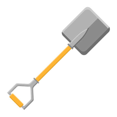 Cartoon shovel icon isolated on white background. Garden spade. Gardening tool. Vector illustration in cartoon style for your design.