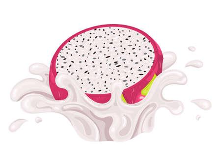 Fresh bright red half pitaya juice splash burst isolated on white background. Summer fruit juice. Cartoon style. Vector illustration for any design.