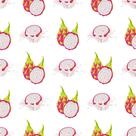 Seamless pattern with fresh whole and half cut red pitaya fruits isolated on white background. Summer fruits for healthy lifestyle. Organic fruit. Cartoon style. Vector illustration for any design
