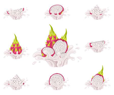 Set of fresh bright red pitaya juice splash burst isolated on white background. Summer fruit juice. Cartoon style. Vector illustration for any design