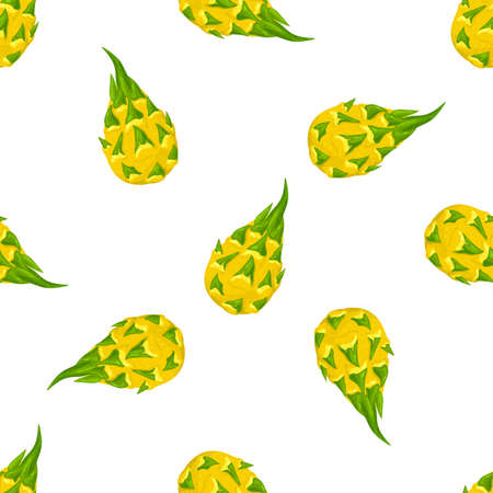 Seamless pattern with fresh whole yellow pitaya fruits isolated on white background. Summer fruits for healthy lifestyle. Organic fruit. Cartoon style. Vector illustration for any design