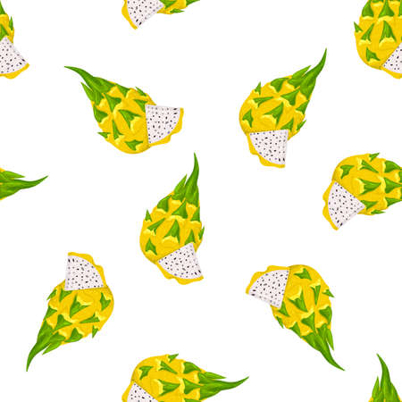 Seamless pattern with fresh whole and cut yellow pitaya fruits isolated on white background. Summer fruits for healthy lifestyle. Organic fruit. Cartoon style. Vector illustration for any design