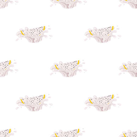 Seamless pattern with fresh bright yellow pitaya juice splash burst isolated on white background. Summer fruit juice. Cartoon style. Vector illustration for any design Vettoriali