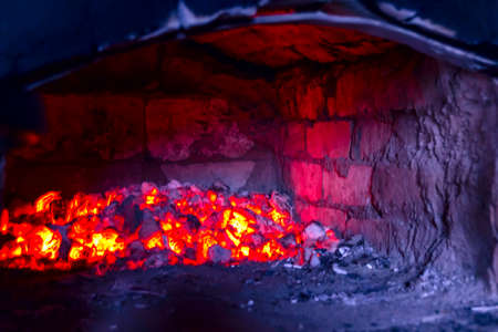 coals: Burning coals in a traditional Russian oven Stock Photo