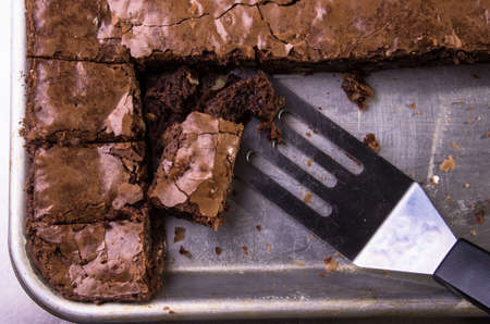 Brownies in a baking sheet, cut and ready to be served.