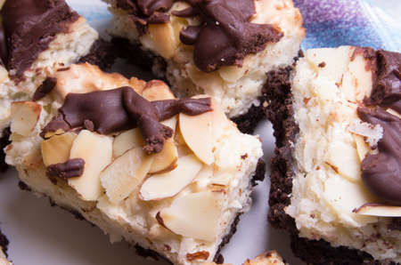 Chocolate Almond bars on a plate, ready to be served.