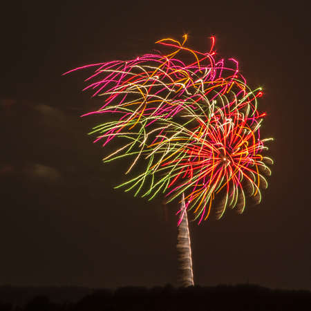 hull: Fireworks go off over the beach in Hull, MA Stock Photo