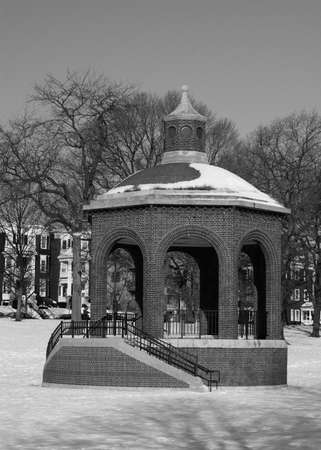 A bandstand sits, covered in snow in South Boston, MA.