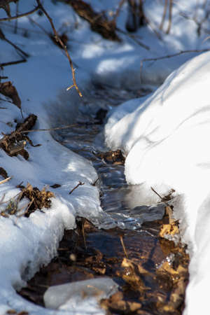 Water flows between two patches of snow.