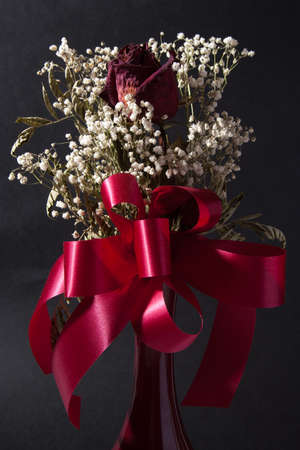 A single, dried rose arranged with babys breath with a red ribbon and red vase on a grey background.