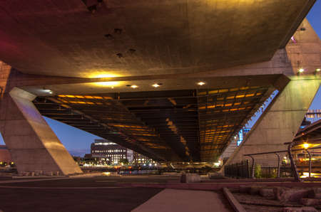 The underside of the Zakim Bridge in Boston MA