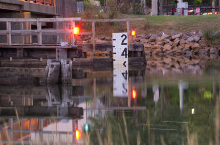 A water level indicator attached to a bascule bridge to tell boats how deep the water is.