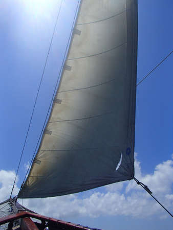 One of the sails on a sailboat filled with wind.