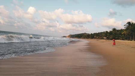 与棕榈树的日落在Sayulita海滩,Nayarit,墨西哥