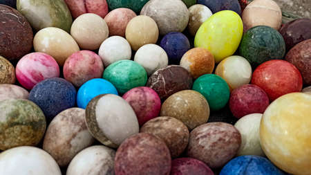 Lots of colorful and bright Easter Eggs made by marble stone in Anatolia, Turkey