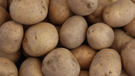 Unpeeled raw potatoes background at the vegetable market in Turkey