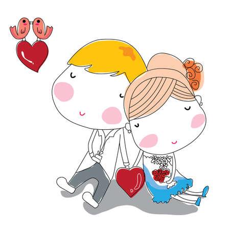 recien casados: El amor de dibujos animados Vectores