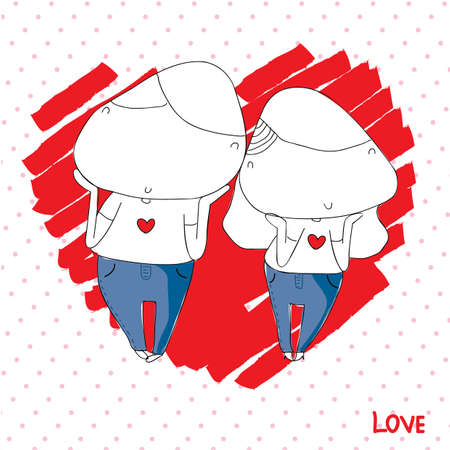 Sweet Valentine cartoon Vector