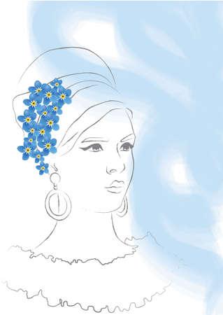 black hair blue eyes: Vector Woman blue Illustration