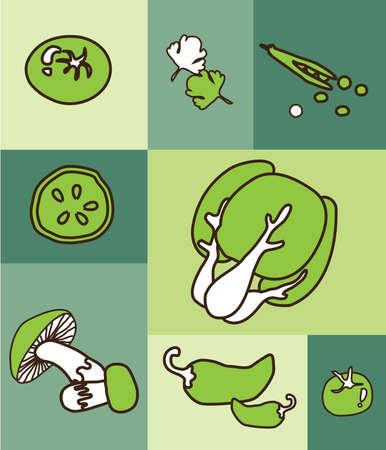 vegetable cartoon: Dibujo animado vegetal verde