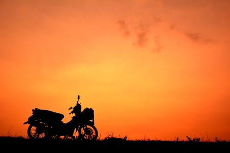 harley: Motorcycle at sky sunset