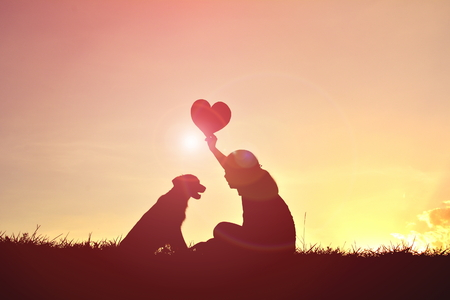 シルエット女性日没で犬と遊ぶ