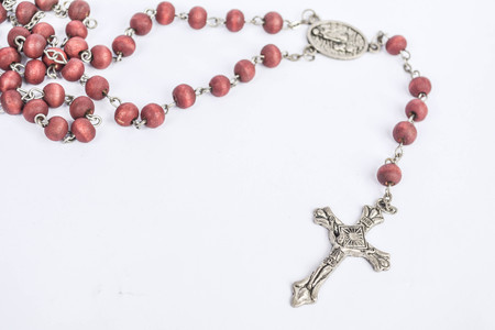 Rosary on white background