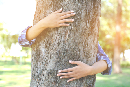 women hug big tree color of hipster tone selective soft focus, concept nature and people Stock Photo