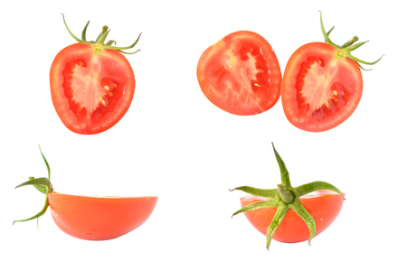 Rotten tomatoes on white background