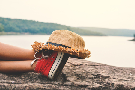 Feet of young girl sleep in the park on nature, Relax time on holiday concept travel ,color of hipster tone 版權商用圖片 - 79021290