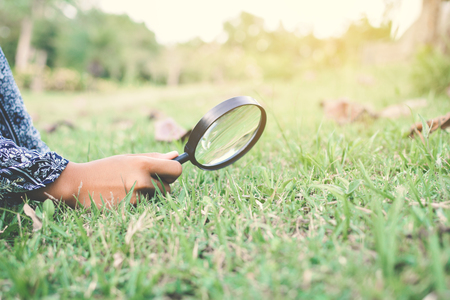 Close up hand holding magnifying glass in garden color of hipster tone selective soft focus, concept natural explorer
