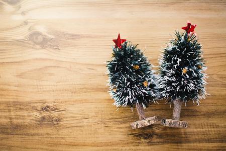 在木行家口氣的迷你聖誕樹 版權商用圖片