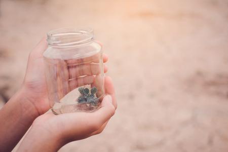 Mãos de menina segurando pequena planta em frasco de vidro em fundo seco rachado, conceito de seca e economia de ambiente