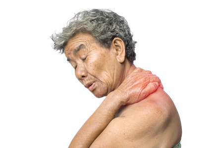 Old woman felt a lot of anxiety about  shoulder and neck pain on white background,Illness of the elderly problem concept