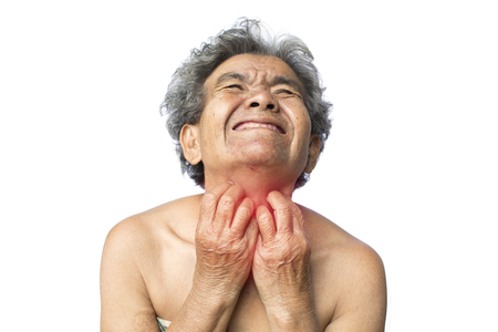 Old woman itching and painful in neck on white background, dermatitis and Illness of the elderly medical concept