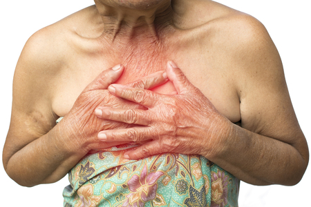 Old woman felt heart ache on white background,Illness of the elderly problem concept