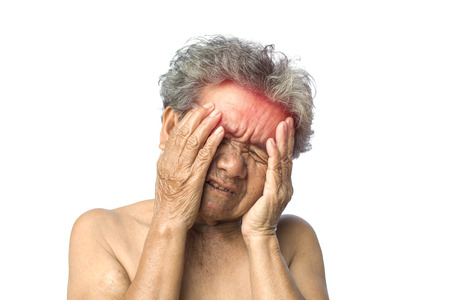 Old woman headache on white background,Illness of the elderly problem concept Reklamní fotografie