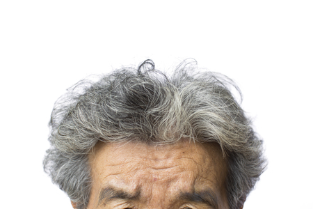 Close up gray hair of old woman on white background