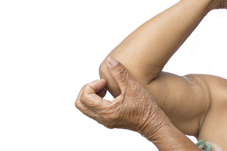 Old hands itching in elbow on white background, dermatitis concept