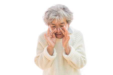 Old woman cough on white background ,Illness of the elderly problem concept